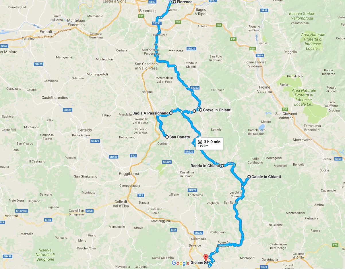 Itinéraire de Florence à Sienne