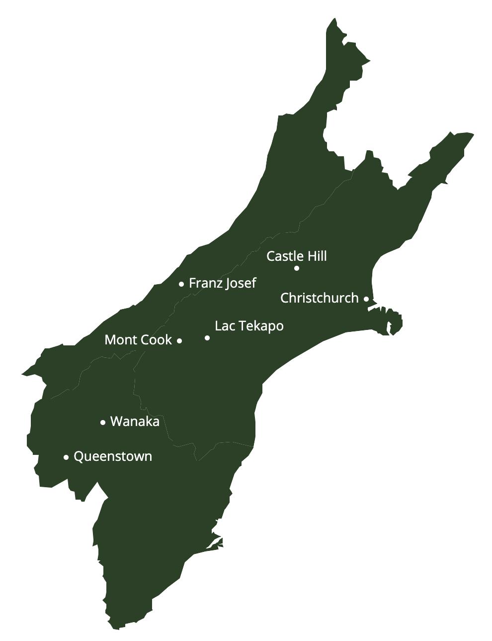 itinéraire ile du sud nouvelle zélande